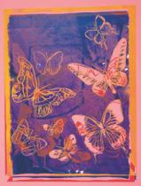 Andy Warhol - Vanishing Animals [Butterflies], 1986 (peach on navy)